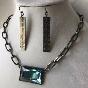 Lia Sophia Prisma Blue Gem Hematite Necklace